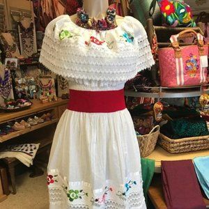 Mexican Campesina Dress White
